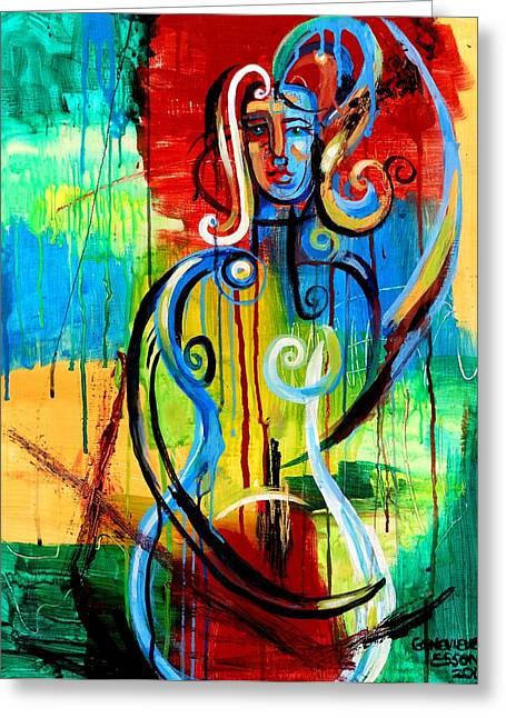 American Women Prints Greeting Cards - Woman Bass Greeting Card by Genevieve Esson