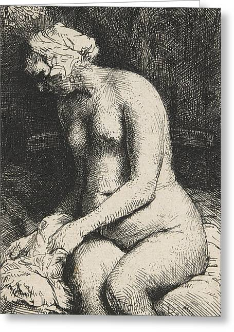 Seated Figure Drawings Greeting Cards - Woman Bathing Her Feet at a Brook Greeting Card by Rembrandt