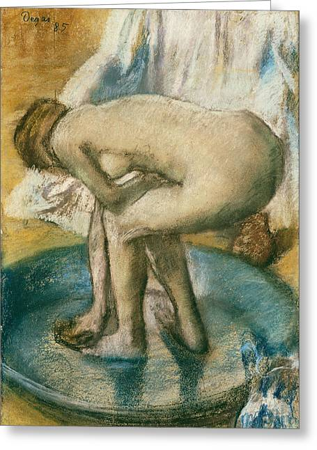 Edgar Drawings Greeting Cards - Woman Bathing in a Shallow Tub Greeting Card by Edgar Degas