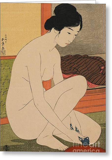 Bath Greeting Cards - Woman Bathing Taisho era Greeting Card by Goyo Hashiguchi