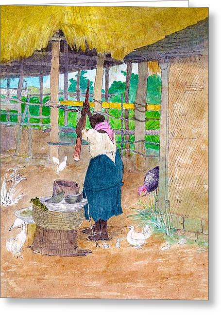 Woman Beating Cassava Jamaica Greeting Card by William Berryman