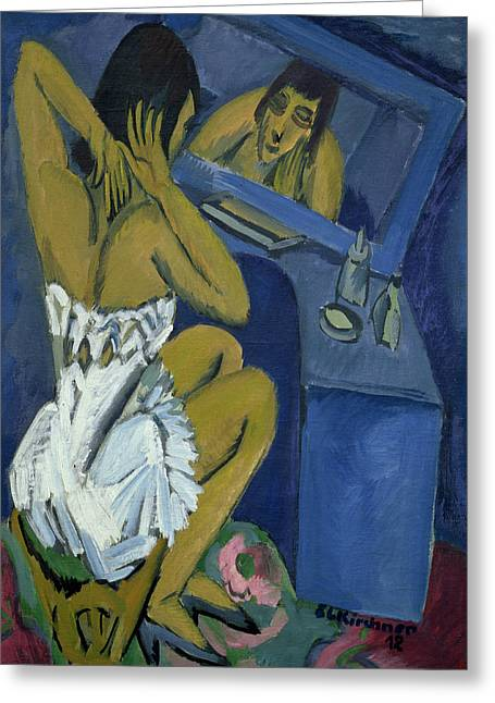 Corset Dress Greeting Cards - Woman before the Mirror Greeting Card by Ernst Ludwig Kirchner