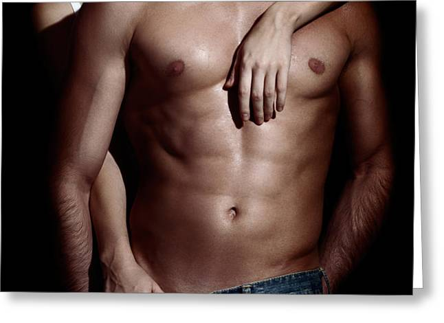 Woman behind sexy man with bare torso and jeans Greeting Card by Oleksiy Maksymenko