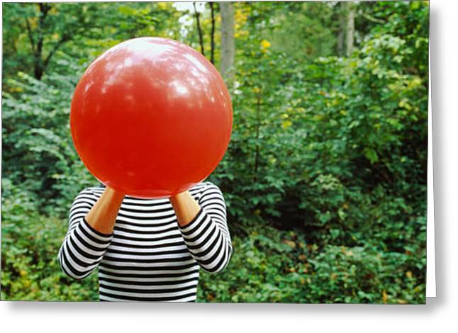 Casual Clothing Greeting Cards - Woman Blowing A Balloon, Germany Greeting Card by Panoramic Images