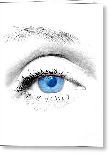 Eyebrow Greeting Cards - Woman blue eye Greeting Card by Michal Bednarek
