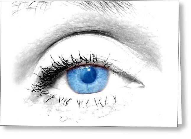 Woman blue eye Greeting Card by Michal Bednarek