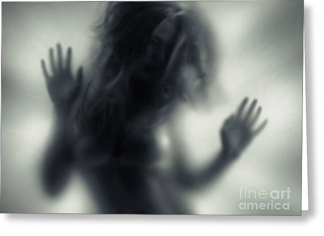 Blured Greeting Cards - Woman blurred silhouette behind glass Greeting Card by Oleksiy Maksymenko