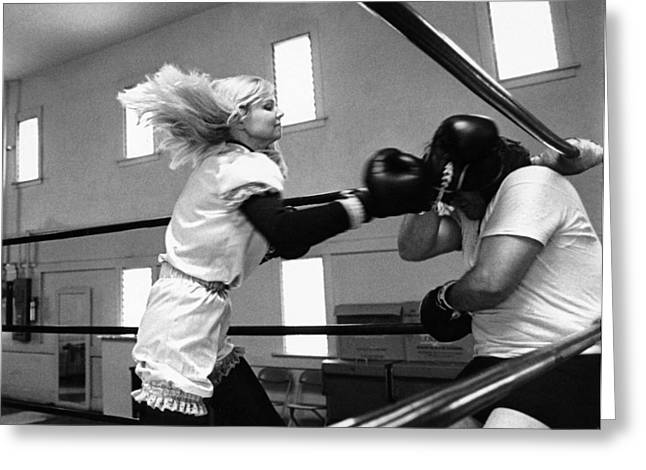 Woman Boxer Greeting Card by Underwood Archives