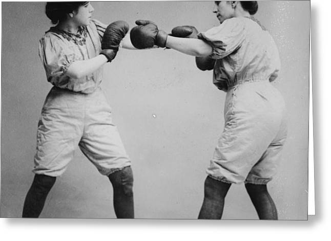 Woman Boxing Greeting Card by Digital Reproductions