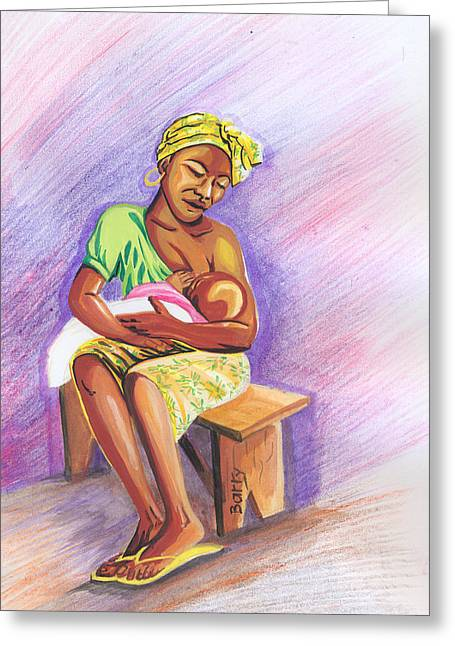 Emmanuel Baliyanga Greeting Cards - Woman Breastfeeding Bay in Rwanda Greeting Card by Emmanuel Baliyanga
