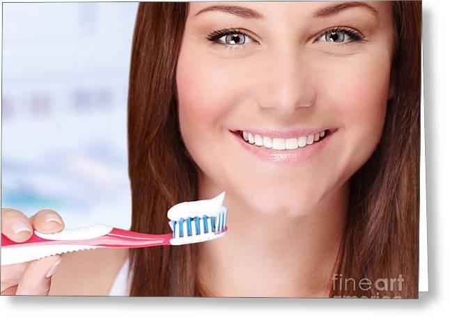 Nice Teeth Greeting Cards - Woman brushing her teeth Greeting Card by Anna Omelchenko