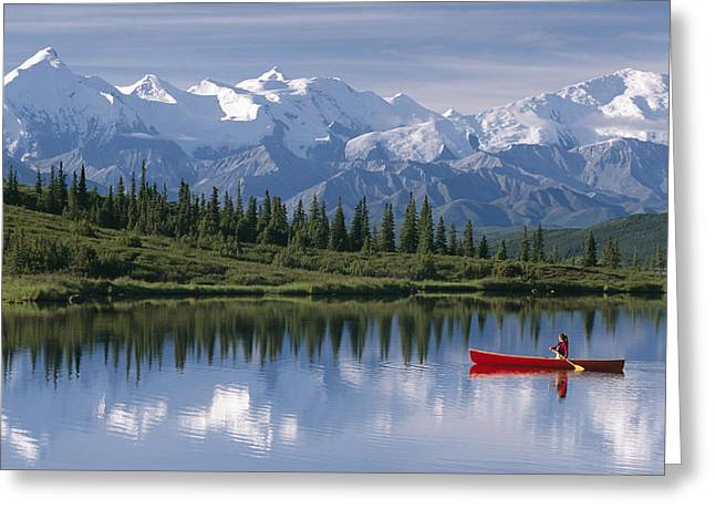 Canoeist Greeting Cards - Woman Canoeing In Wonder Lake Alaska Greeting Card by Michael DeYoung