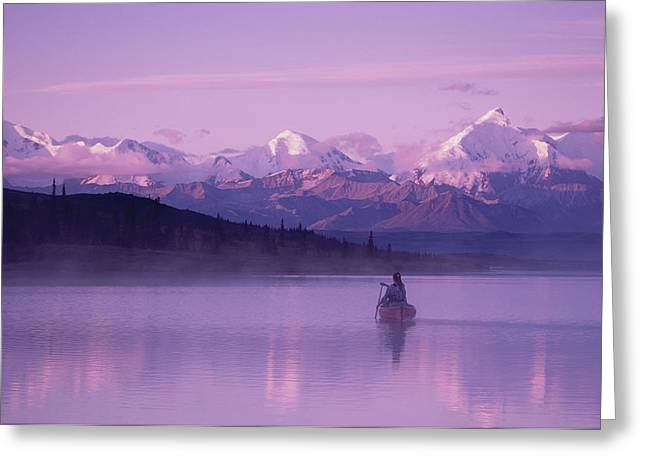 Canoeist Greeting Cards - Woman Canoeing In Wonder Lake In The Greeting Card by Michael DeYoung