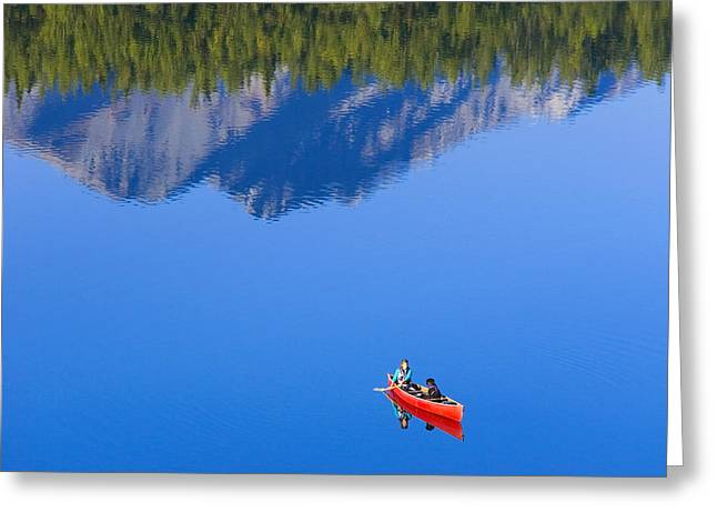 Canoeist Greeting Cards - Woman Canoeing Long Lake In Matanuska Greeting Card by Michael DeYoung