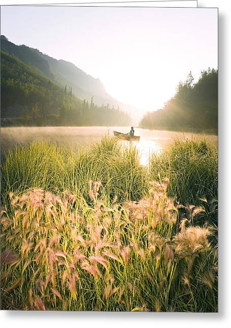 Canoe Photographs Greeting Cards - Woman Canoeing On Long Lake In Early Greeting Card by Michael DeYoung