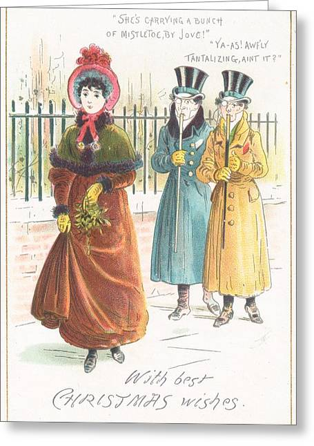Wishes Drawings Greeting Cards - Woman Carrying Bunch of Mistletoe Greeting Card by English School