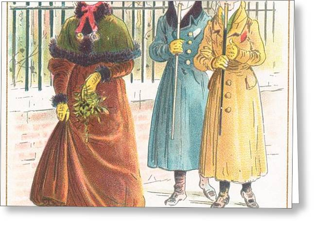 Woman Carrying Bunch of Mistletoe Greeting Card by English School