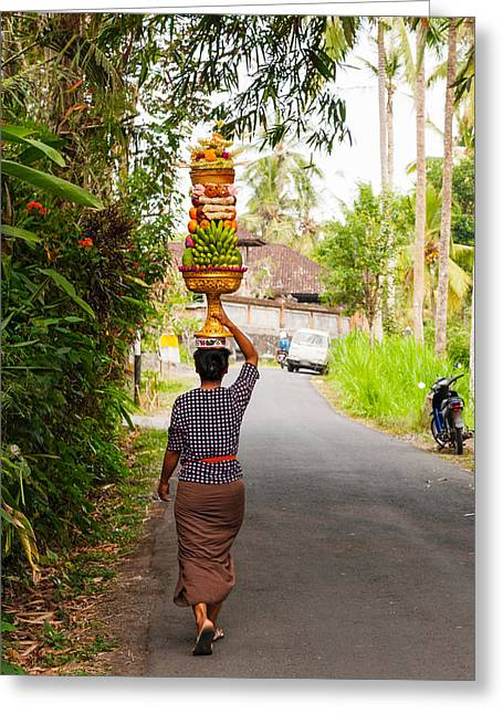 One Person Only Greeting Cards - Woman Carrying Offering To Temple Greeting Card by Panoramic Images