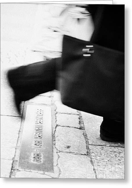 Berliner Greeting Cards - woman carrying shopping bag walking over double row of bricks across berlin to mark the position of the berlin wall berliner mauer Berlin Germany Greeting Card by Joe Fox