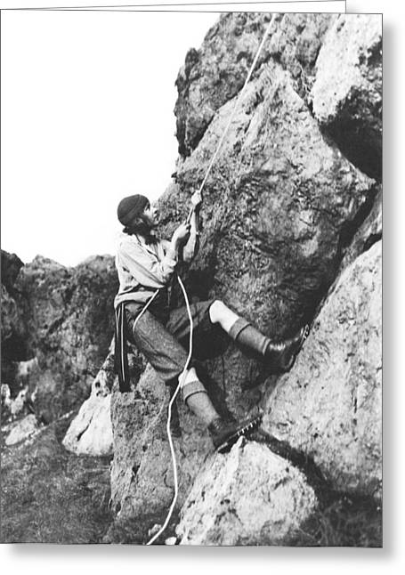Woman Climbing In Zion Greeting Card by Underwood Archives