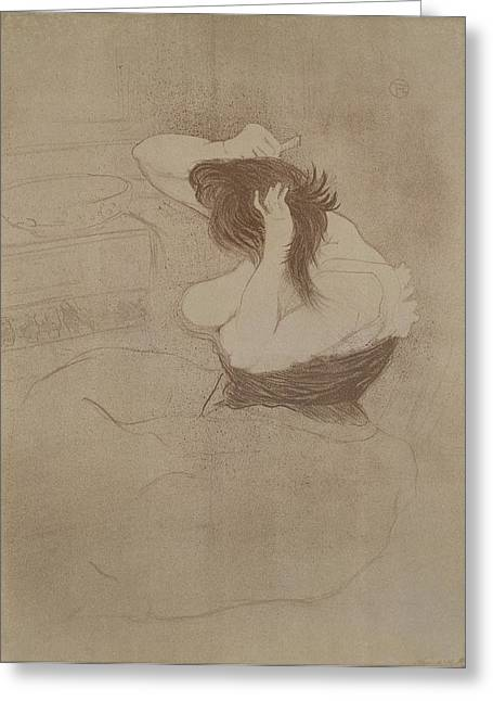 Corset Drawings Greeting Cards - Woman Combing Her Hair, From Elles, 1896 Greeting Card by Henri de Toulouse-Lautrec