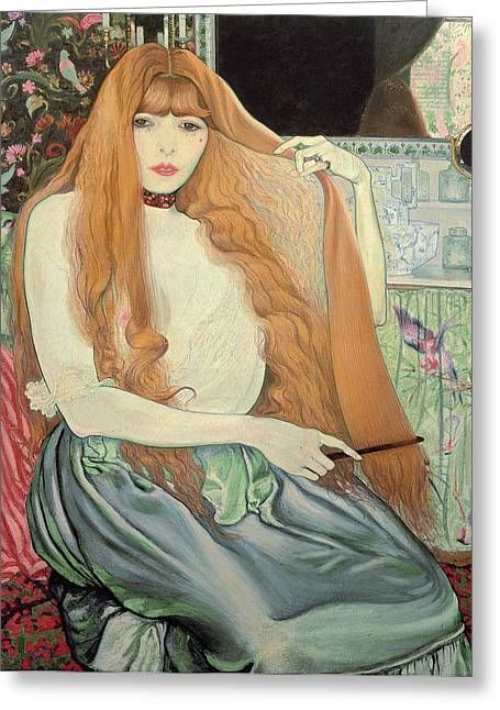 Comb Greeting Cards - Woman combing her hair Greeting Card by Louis Anquetin