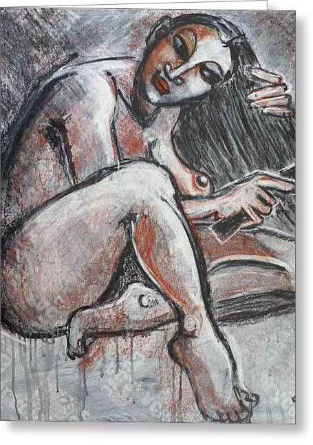 Sized Drawings Greeting Cards - Woman Combing Her Hair - Nudes Greeting Card by Carmen Tyrrell