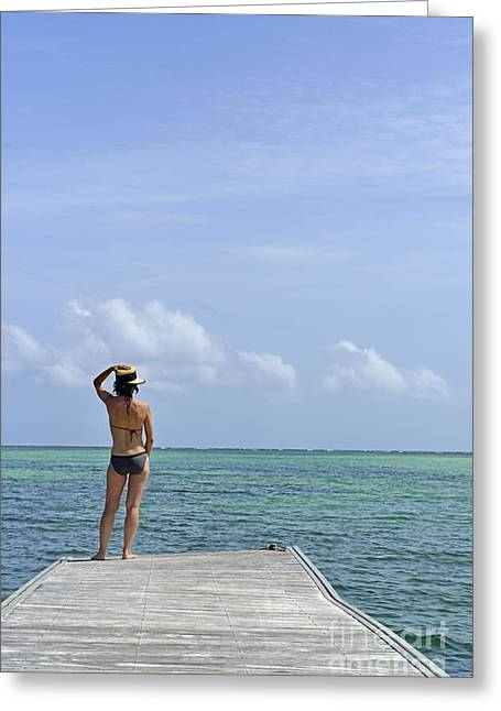 Women Only Greeting Cards - Woman contemplating ocean from pontoon Greeting Card by Sami Sarkis