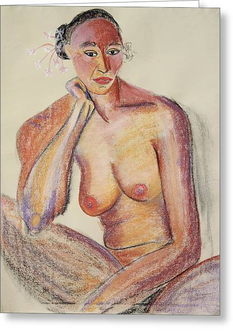 Seated Woman Greeting Card Greeting Cards - Woman Contemplating with Flowers in Her Hair Greeting Card by Asha Carolyn Young