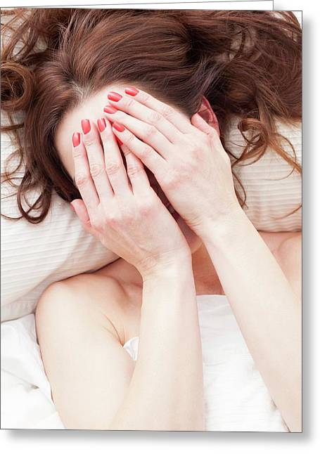 Woman Covering Face With Hands Greeting Card by Ian Hooton