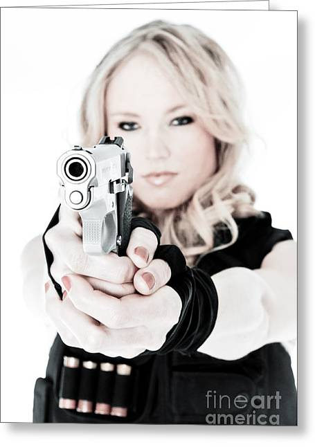 Hot Gun Greeting Cards - Woman Defense Greeting Card by Jt PhotoDesign