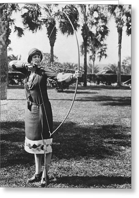 Woman Demonstrates A Longbow Greeting Card by Underwood Archives