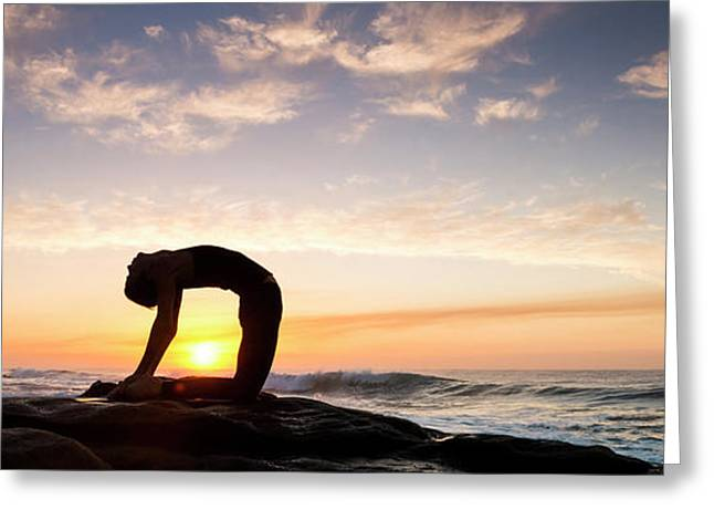 Woman Doing Yoga Camel Pose Greeting Card by Panoramic Images