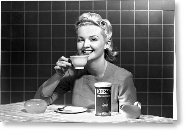 Woman Drinking Nescafe Greeting Card by Underwood Archives