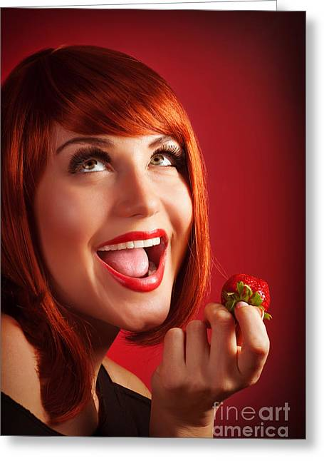 Passion Fruit Greeting Cards - Woman eat strawberry Greeting Card by Anna Omelchenko