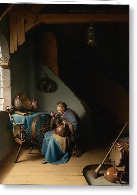 Porridge Paintings Greeting Cards - Woman Eating Porridge Greeting Card by Gerard Dou