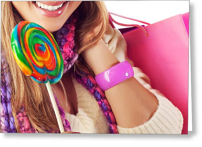 Sweetmeats Greeting Cards - Woman eating sweet candy Greeting Card by Anna Omelchenko