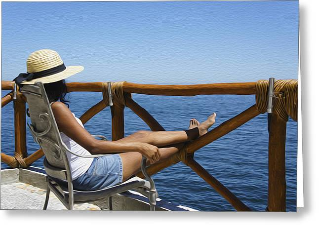 Position Greeting Cards - Woman enjoying the view  Greeting Card by Aged Pixel