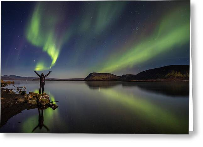 Awesome Greeting Cards - Woman Enjoying The View Of The Northern Greeting Card by Panoramic Images