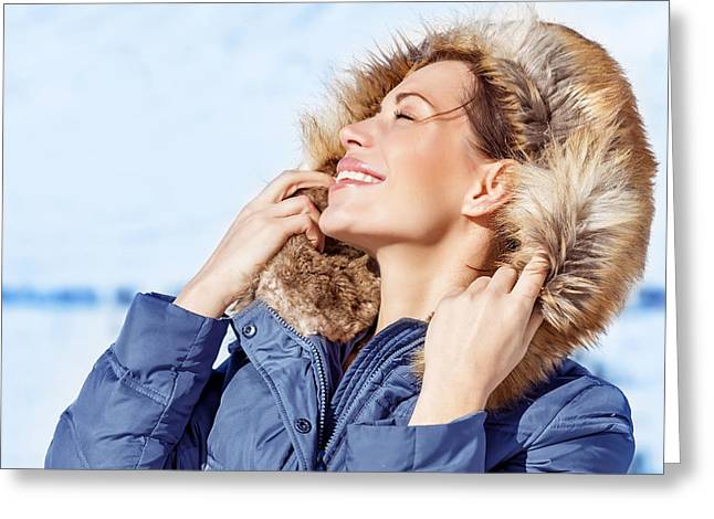 Snowy Day Greeting Cards - Woman enjoying winter nature Greeting Card by Anna Omelchenko