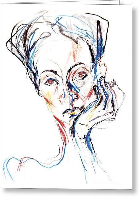 Aqua Drawings Greeting Cards - Woman expression Greeting Card by Marian Voicu