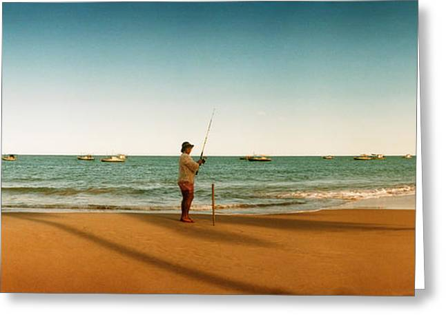 Fishing Rods Photographs Greeting Cards - Woman Fishing On The Beach, Morro De Greeting Card by Panoramic Images