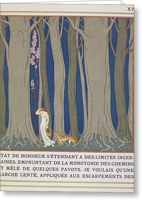 Desperate Greeting Cards - Woman followed by a Leopard Greeting Card by Georges Barbier