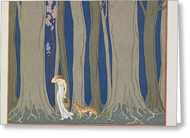 Woman followed by a Leopard Greeting Card by Georges Barbier