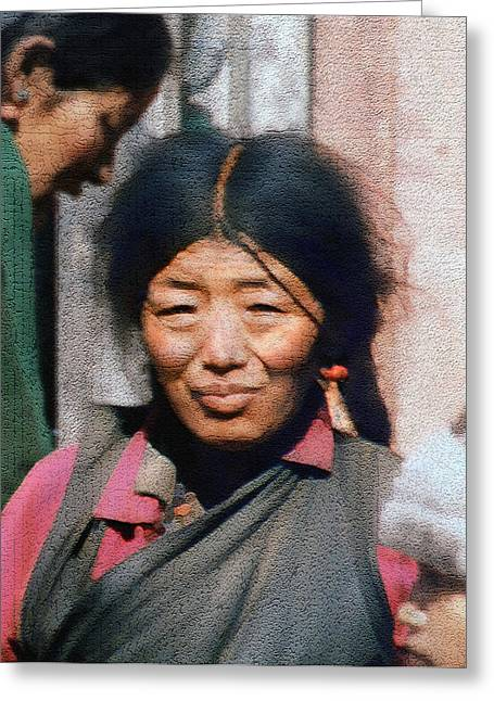 Native Peoples Greeting Cards - Woman from Tibet Greeting Card by Kurt Van Wagner
