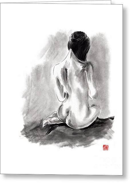 Woman Geisha Erotic Act Beautiful Girl  Japanese Ink Painti Greeting Card by Mariusz Szmerdt