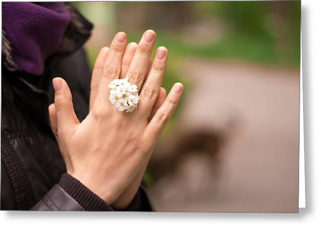 Rings On Fingers Greeting Cards - Woman Hands together with flower ring Greeting Card by Stupinean Dan Adrian