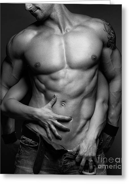 Caress Greeting Cards - Woman hands touching muscular mans body Greeting Card by Oleksiy Maksymenko