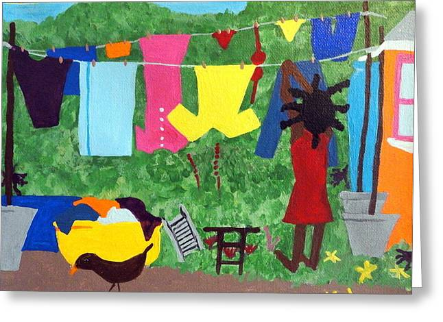 Watermelon Greeting Cards - Woman Hanging Clothes Greeting Card by Kato Charles
