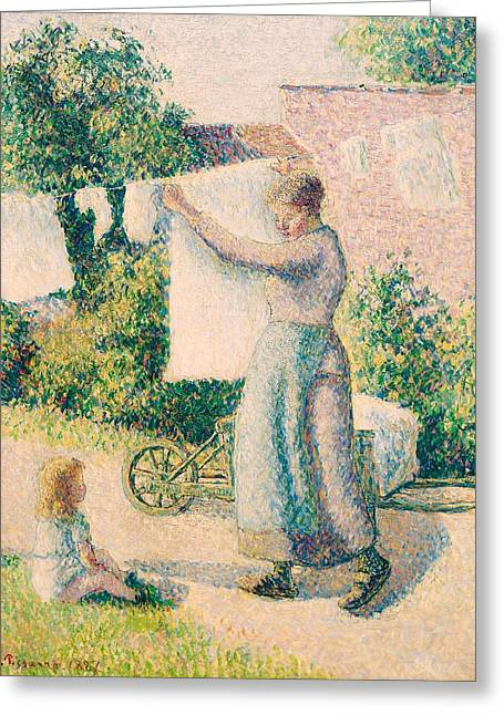 Caring Mother Paintings Greeting Cards - Woman Hanging Laundry Greeting Card by Camille Pissarro